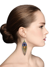 Bohemian Statement Earrings Women's Dangle Earrings Peacock Feather Pierced Bridal Earrings