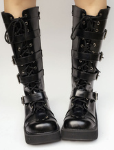 Lolitashow Black Lolita Boots Wedge Platform Round Toe Buckle Lace Up Lolita Short Boots