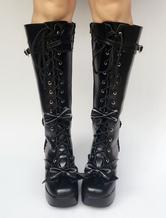 Lolitashow Schwarze Lolita Stiefel kniehoch Chunky Heel Lace Up Plattform Schnalle Lolita Stiefel mit abnehmbaren Bogen