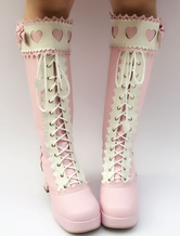 Lolitashow Sweet Lolita Boots Pink Knee High Platform Chunky Heel Lace Up Bow Lolita High Boots With Heart Cutout