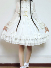 Lolitashow Sweet Lolita Dress JSK Fly Me To Polaris White Chiffon Bow Ruffled Lace Up Lolita Jumper Skirt