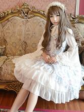 Lolitashow Classic Lolita Dress JSK Antique Clock Printed Chiffon Ruffled Bow Layered Lolita Jumper Skirt