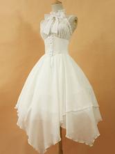 Gothic Lolita Kleid JSK Dawn White Chiffon Spitze Bogen unterbrochen Schnürschuh unregelmäßige Lolita Jumper Rock