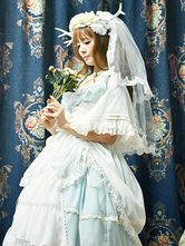 Lolita Wedding Dress OP One Piece Colorful Fairytale Lace Bow Ruffled Cross Front Lolita Dress