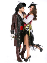 Anime Costumes AF-S2-630703 Couples Costumes 2017 Pirate Costume Deep Brown Couples Halloween Costume