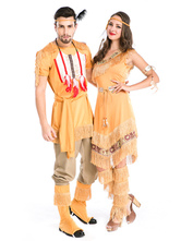 Anime Costumes AF-S2-630697 Couples Costumes 2017 Native American Yellow Indian Costume Outfits