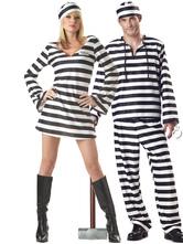 Anime Costumes AF-S2-630713 Prisoner Couple Halloween Costumes Striped Halloween Costumes For Adults