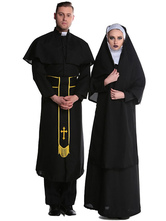 Anime Costumes AF-S2-630685 Couples Costumes 2017 Priest Nun Costumes Halloween Priest Couples Costumes