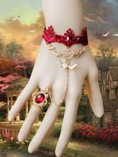 Lolitashow Gothic Lolita pulseira renda vermelha de joias Metal detalhes Lolita acessórios com anel