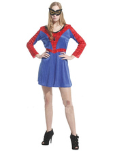 Anime Costumes AF-S2-630687 Couples Costumes 2017 Spiderman Couples Costumes Halloween Women's Spiderman Red Blue Dress Sets