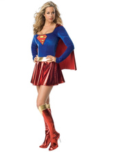 Anime Costumes AF-S2-630709 Superman Couple Halloween Costumes Royal Blue Jumpsuit And Dress