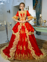 Anime Costumes AF-S2-631527 Red Retro Costume Baroque Embroidered Zipper Tunic Chapel Train Ball Gown Dress