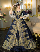 Anime Costumes AF-S2-631537 Blue Retro Costume Rococo Embroidered Bell Sleeve Lace Up Tunic Renaissance Gown Dress