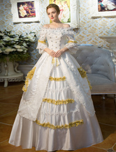 Anime Costumes AF-S2-631521 White Retro Costumes Flared Sleeve Off The Shoulder Victorian Vintage Maxi Dress