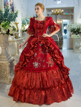 Anime Costumes AF-S2-631525 Halloween Retro Costumes Baroque Red Squared Neckline Printed Flared Half Sleeve Layered Ball Gown Dress