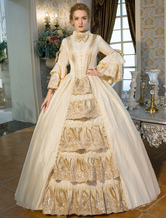 Anime Costumes AF-S2-631517 Halloween Retro Costumes Victorian Beige Long Flared Sleeve Ruffle Maxi Dress