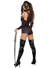 Anime Costumes AF-S2-631509 Halloween Sexy Costumes Black Women's Ninja Jumpsuit In Gloves & Headgear