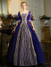 Damen Retro Kleid Barock Kostüm Spitze bestickte Tunika Lace Up Ball Kleid Kleid Karneval Vintage Kostüm