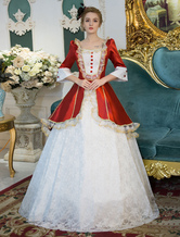 Anime Costumes AF-S2-631529 Red Retro Costume Rococo Lace Squared Neckline Bell Sleeve Button Long Maid Dress