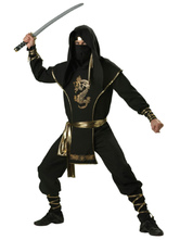 Anime Costumes AF-S2-631515 Halloween Ninja Costumes Black Long Sleeve Outfit With Sash & Headgear For Men