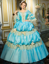Anime Costumes AF-S2-631531 Blue Retro Costume Rococo Tiered Bell Sleeve Princess Dress