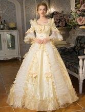 Anime Costumes AF-S2-631523 White Retro Costumes Rococo Lace Long Flared Sleeve Tunic Ball Gown Lolita Dress With Bows