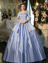 Anime Costumes AF-S2-631519 Vintage Victorian Blue Half Sleeve Squared Neckline Tunic Pleated Ball Gown Maxi Dress