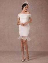Short Wedding Dress Mermaid Off-the-shoulder Satin Vintage Wedding Dress Ruffles Mini Bridal Summer Wedding Dresses 2020