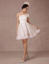 Robe de mariée courte Organza One-shoulder A-line Backless satin mini robes de mariée d'été 2020