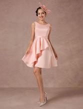 Vestido de casamento rosa Brincos de casamento de verão vintage curto 2020 Coquetel trem assimétrico