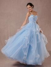 Синий свадебное платье тюль бальное платье кружева аппликация без бретелек бисером принцесса свадебное платье с открытой спиной Длина пола конкурс платье
