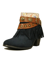Women's Ankle Boots Blue Suede Booties Tassels Short Boots Leather Buckles Cowgirl High Heel Winter Boots With Embroideries