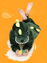 Kigurumi Pajamas Dinosaur Onesie Kids Flannel Green Winter Sleepwear Mascot Animal Costume Halloween onesie pajamas