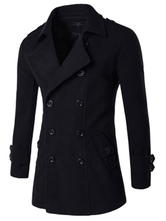 Men Pea Coat Double Breasted Button Long Sleeve Cotton Winter Overcoat