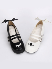 Lolitashow Gothic Lolita Shoes Double Strap Evil Wings Mary Jane Shoes