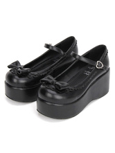 Sweet Lolita Shoes Black Platform Wedge Ankle Strap Lolita Shoes With Bow
