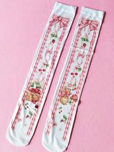 Lolitashow Sweet Lolita Stockings Cute Velvet Alice Print Lolita Knee-High Socks