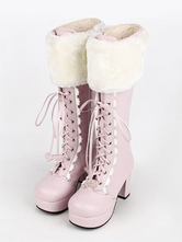 Lolitashow Sweet Lolita Boots Pink Faux Fur Lace Up Chunky Heel Boots