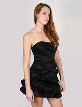 Black Party Dress Strapless Mini Peplum Dress Backless Cocktail Dress With Bra