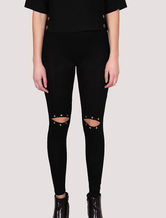 Women's Black Legging Knee Cut Out Eyelets Skinny Pants With Elastic Waistband