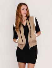 Women Vest Jacket Cotton Camel Elastic Waistband Sleeveless Gilet