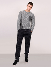 Men Sweater Crew Neck Long Sleeves Asymmetric Grey Cotton Blend Pullover With Contrast Color