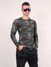 Long Sleeve T Shirt Men Camouflage Cotton Ripped Pullover