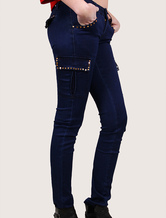 Rivets Legging Elastic Women's Punk Style Indigo Skinny Pants With Pleated Pockets