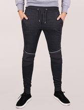 Men's Joggers Zipper Punk Elastic Waistband Cotton Dark Grey Knit Leggings Sweat Pants
