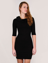 Black Bodycon Dress Women's Half Sleeves Sweater Dress With Turtleneck Alternative Collar