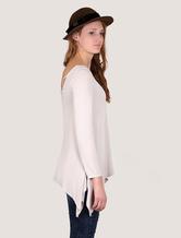 T-shirt féminin Criss-cross arrière asymétrique bas haut élastique à la palangre