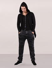Full Zip Hoodie Men Black Fake Two Piece High Low Cotton Hooded Jacket With Long Sleeves