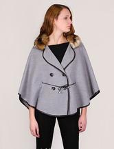 Women Peacoat Faux Fur Collar Plus Size Poncho Cape Women's Winter Coat
