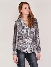 Camicia stampata high-low con maniche lunghe per donna